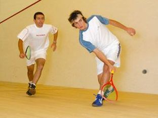 Two players during a squash match in DC