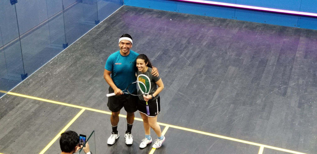 Picture of Squash Coach Sergio Lopez playing the exhibition Match in DC