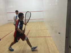 Squash player play a squash game at the sport courts in Toronto