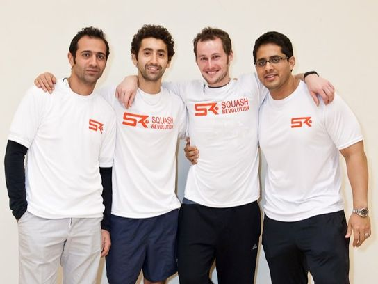 Picture of Squash Players Amr Shabana, Shahier Razik, Gregory Gaultier, and Abir Ray wearing Squash Revolution Shirts