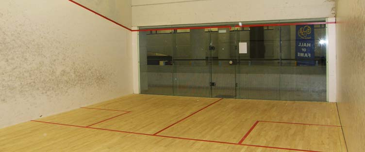 View of the squash courts at Squash Revolution in Toronto